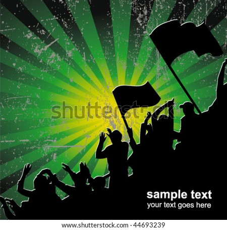 fans crowd - stock vector