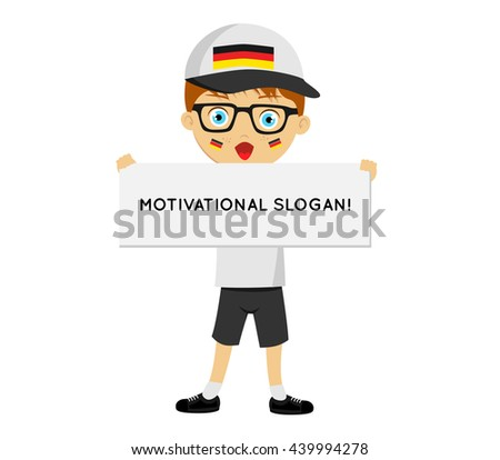 Fans of the national team of Germany. Football fans, sports fans, fans of the national team. Can be used as illustrations, characters can be used in various designs.Man with a banner in his hands  - stock vector