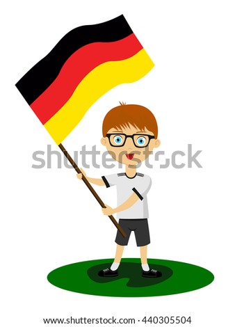 Fans of the national team of Germany. Football fans, sports fans, fans of the national team. Can be used as illustrations, characters can be used in various designs.Fan with a flag in his hands - stock vector