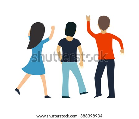 Fans people vector on white background. Fans Cheering Silhouette on white background. Fans people vector. Fan group people. Fans people cheering championship. Championship fans people. - stock vector