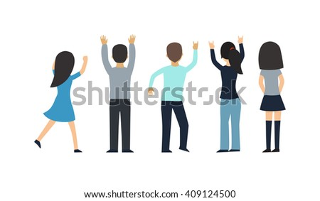 Fans people vector on white background. Fans Cheering Silhouette on white background. Fans people vector. Fan group people. Fans people cheering championship. Championship fans people. People concert - stock vector