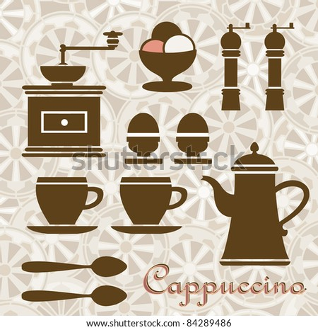 Fantasia on a Theme of coffee and breakfast. Can be used as a menu. - stock vector