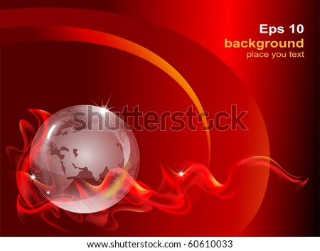 fantastic abstract background with a transparent globe - stock vector