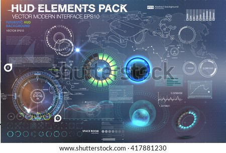 Fantastic abstract background with different elements of the HUD. Big set of various HUD elements. Charts, ratings style HUD switches and various geometrical objects.  - stock vector
