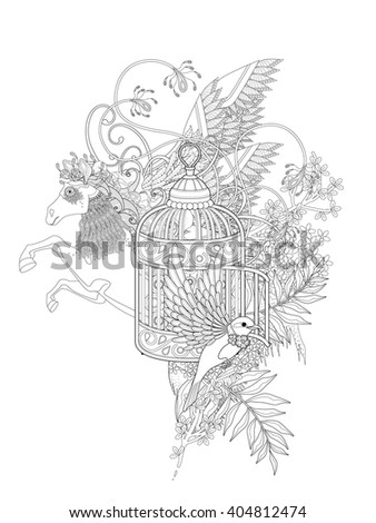 fantastic bird and pegasus adult coloring page with floral elements - stock vector