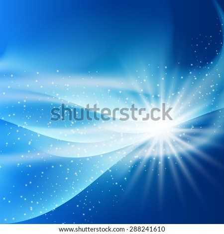 fantastic bright flash of light on blue background square sparks vector illustration - stock vector