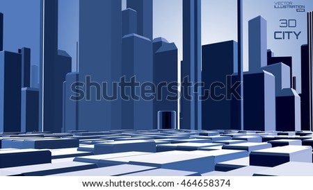 Fantastic city background. Abstract vector illustration. Future architecture.