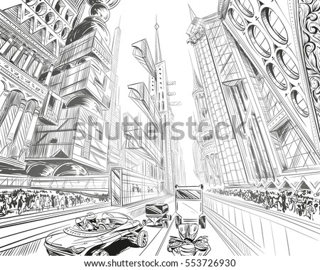 Fantastic City Of The Future Concept Art Illustration Sketch Gaming Design Hand Drawn