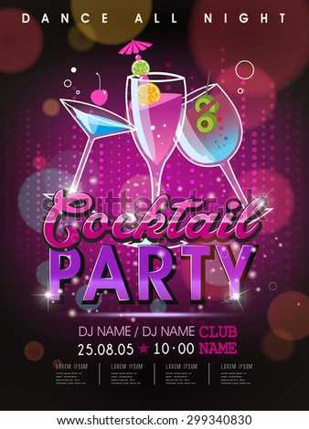 fantastic cocktail party poster design with abstract background - stock vector