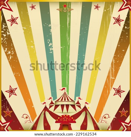 Fantastic color circus square background. A circus square invitation with multicolored sunbeams for your show. - stock vector