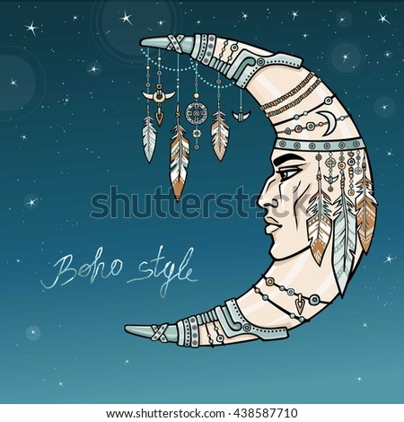 Fantastic crescent with a human face. Spirit of the shaman. Ethnic jewelry, beads,  feathers. Esoteric symbol, boho design. Indian motives. Vector color illustration, background - night the star sky. - stock vector
