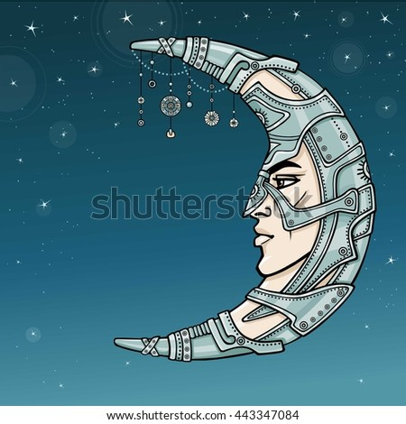 Fantastic crescent with a human face. Spirit of the soldier. Esoteric symbol, boho design. Vector color illustration, background - the star night sky.