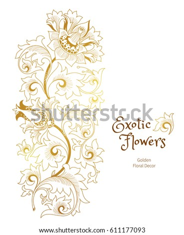 Fantastic exotic flowers in Chinese style. Luxury ornament. Floral illustration. Golden graphic arts. Premium quality vector element, vignettes for design template.