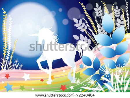 Fantastic Fairy Tale with a Fabled Unicorn - standing a beautiful white horse on the colorful rainbow field with a soft moon light on blue background : vector illustration - stock vector