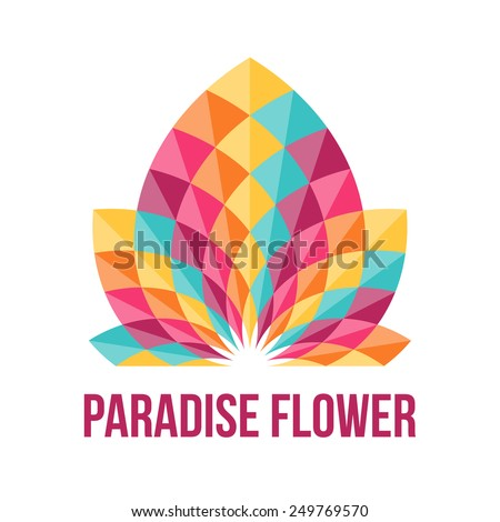 Fantastic geometric flower. Abstract symbol of beauty. Vector illustration. - stock vector
