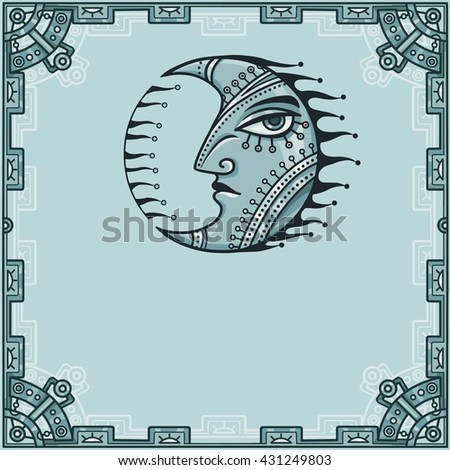 Fantastic image of iron moon. Metal amulet. A background - a frame from iron elements. Vector illustration.