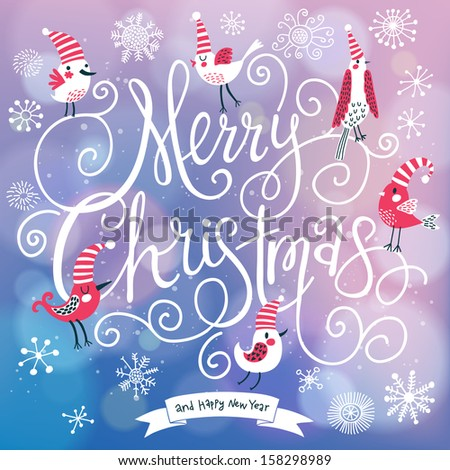 Fantastic merry christmas card vector cute stock vector hd royalty fantastic merry christmas card in vector cute stylish birds on merry christmas text on bright m4hsunfo