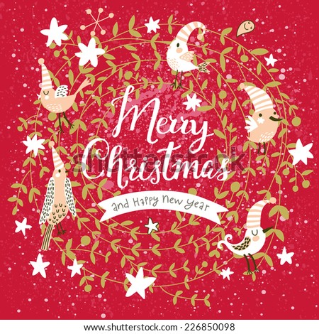 Fantastic Merry Christmas card in vector. Cute stylish birds on Merry Christmas text on bright red background - stock vector