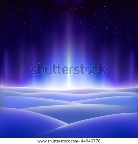 Fantastic north aurora on an icy planet (other landscapes are in my gallery) - stock vector