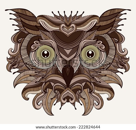 Fantastic Owl. Serious bird is looking at you. Fancy owl head illustration. Isolated element. Vector file is EPS8, all elements are grouped. - stock vector