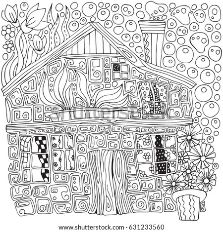 Fantastic Rural House And Flowers In Pots Doodle Zentangle Style Black White