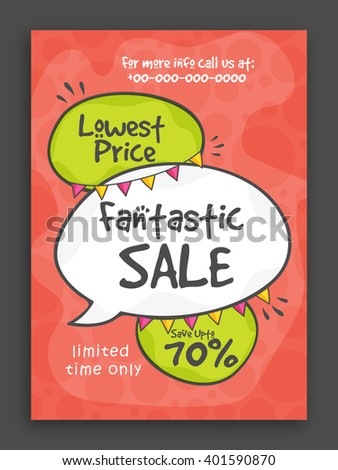 Fantastic Sale Poster, Sale Banner, Sale Flyer, Lowest Price Offer, Save upto 70% for Limited Time. - stock vector