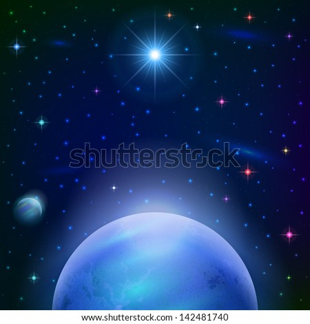 Fantastic space background with unexplored blue planet, satellite, sun, stars and nebulas. Elements of this image furnished by NASA. Vector eps10, contains transparencies - stock vector