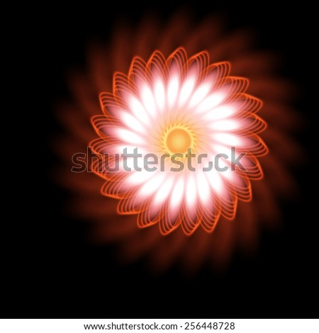 Fantastic space bright glowing swirling flower. - stock vector