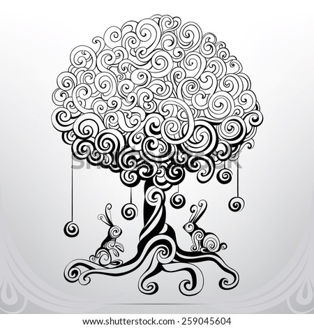 Fantastic tree in an ornament - stock vector