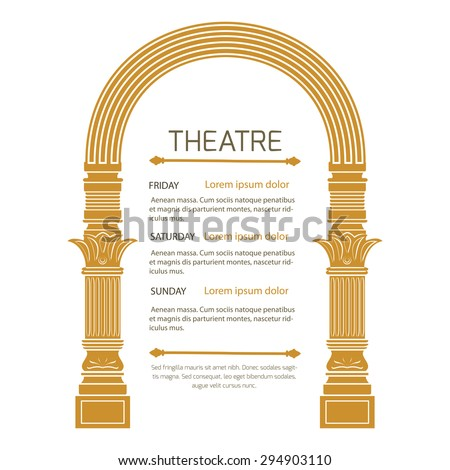 Fantasy ancient arch in vintage style on white background.Theatrical poster invitation to show. - stock vector
