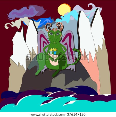 fantasy animal, character with horns and wings sitting on the mountains with boy and girl sitting inside its kangaroo pocket. vector hand drawn cartoon, fairy tale illustration