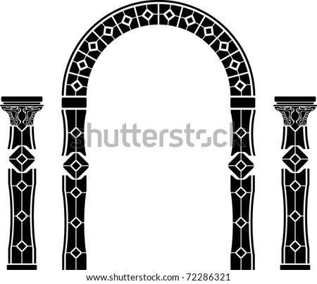 fantasy arch and columns. stencil. second variant. vector illustration - stock vector