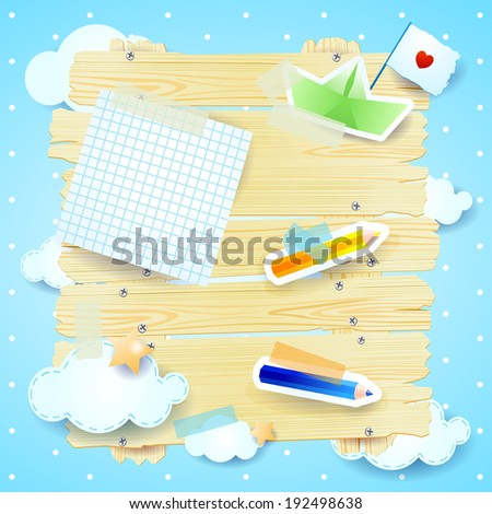 Fantasy background with paper elements, vector - stock vector