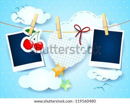 Fantasy background with paper frames, vector - stock vector