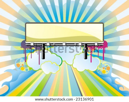 fantasy billboard in the above of clear cloud - stock vector