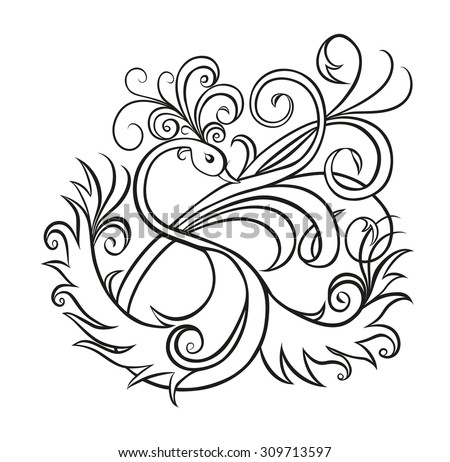 Fantasy bird with tuft on the head and  spread wings,and tail with of a beautiful long curling  feathers on a white background. Sketch style,design the letter S