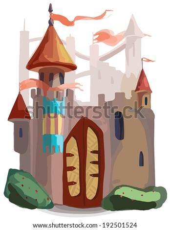 fantasy castle - stock vector