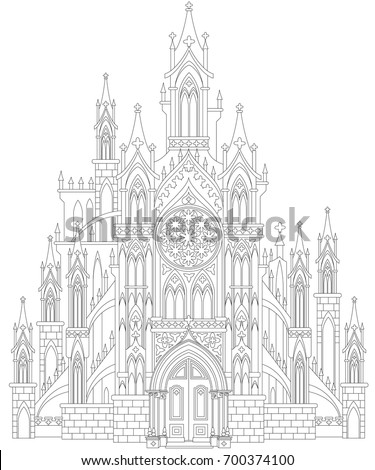 Fantasy Drawing Of Medieval Gothic Castle Black And White Page For Coloring Worksheet
