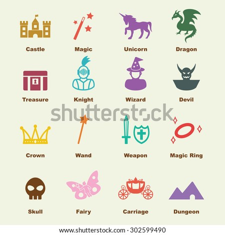 fantasy elements, vector infographic icons - stock vector