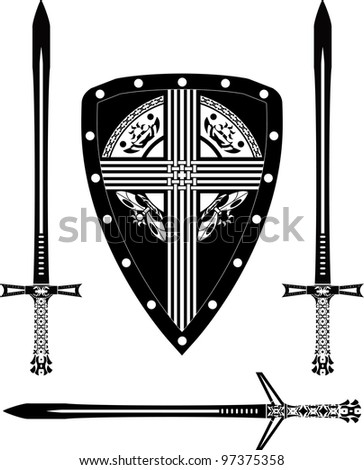 fantasy european shield and swords. stencil. vector illustration - stock vector