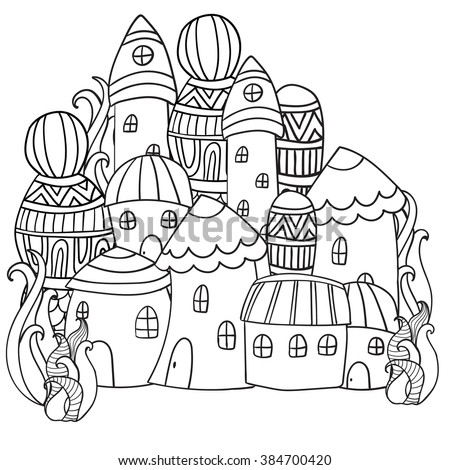 Fantasy Fairy Houses In The Magic Forest Pattern For Coloring Book Black And White