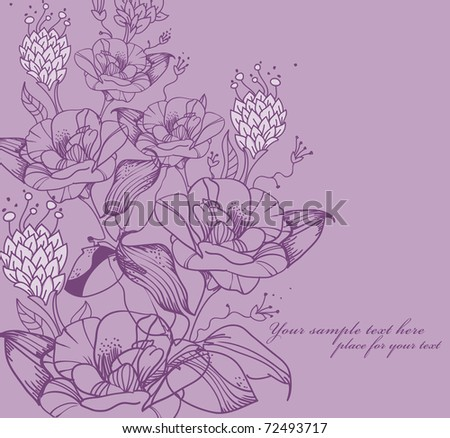 fantasy floral background with blooming flowers - stock vector
