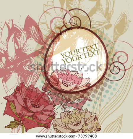 fantasy floral frame with bright roses on an abstract background - stock vector