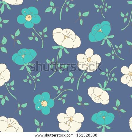 Fantasy floral seamless vector pattern - stock vector