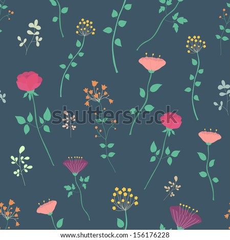 Fantasy floral seamless vector pattern. Pretty flowers on dark blue background.  Ideal for textile, wrapping paper, wallpaper - stock vector