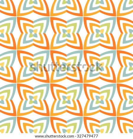 Fantasy flowers geometric seamless pattern. Abstract vector background. Regular texture.
