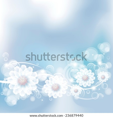 fantasy flowers on gently blue background - stock vector