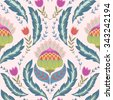 Fantasy flowers seamless pattern. Classic ornament for textile, wrapping, wallpaper - stock vector