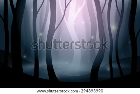 fantasy forest background editable vector - stock vector