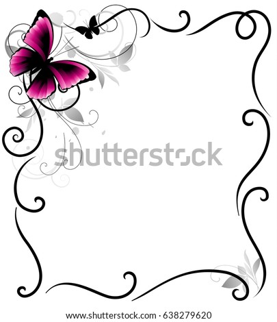 Fantasy Frame Butterfly Corner Leaves Decorative Stock Vector ...